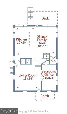 Floor Plan - main level - 4707 FORDHAM RD, COLLEGE PARK