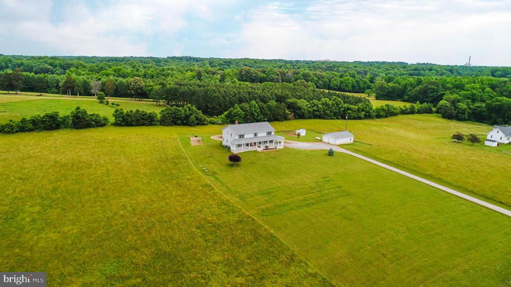 Arial view of home and hayfields - 160 WILLOWDALE LN, FREDERICKSBURG