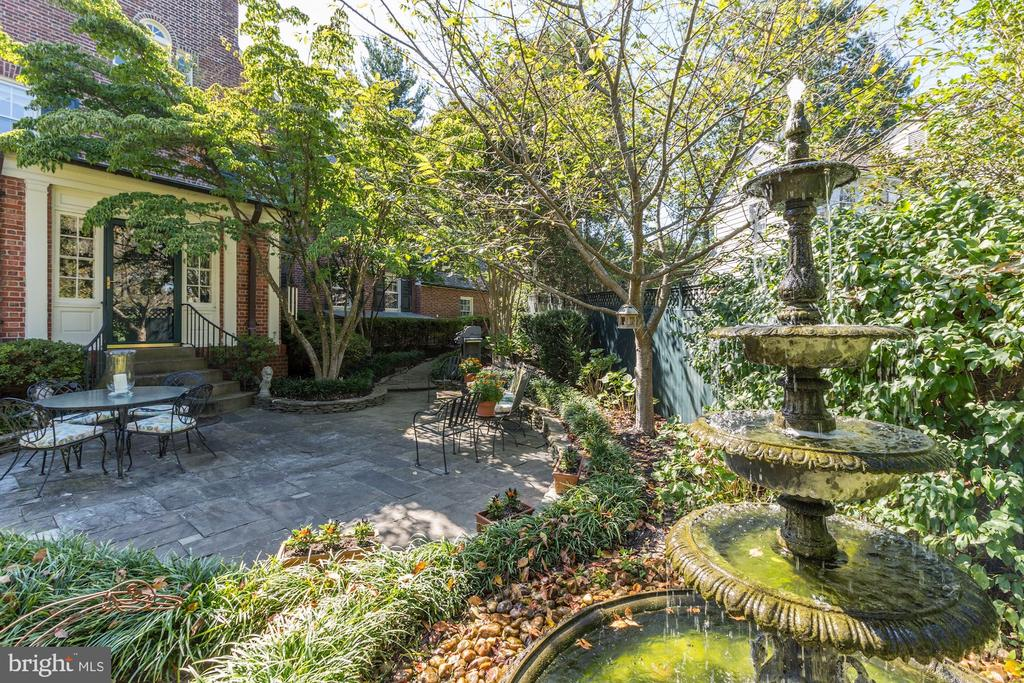 Romantic Patio with Antique Fountain - 6600 KENNEDY DR, CHEVY CHASE