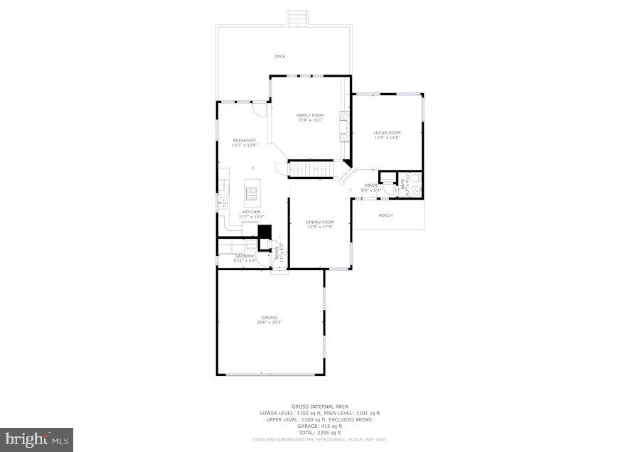 Main Level Floor Plan - 1308 PAVILION CLUB WAY, RESTON