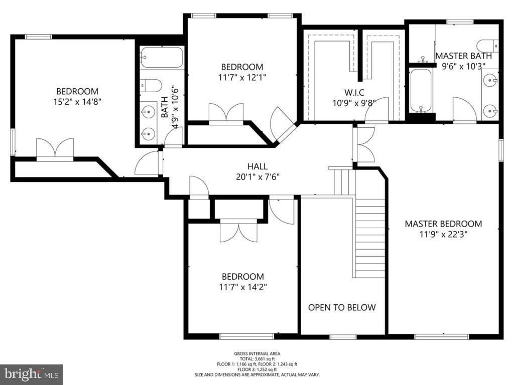 Upper Level Floor Plan - 18449 CROWNSGATE CIR, GERMANTOWN