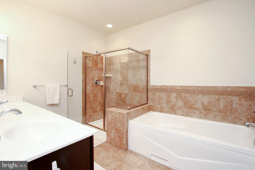 Soaking tub and glass walled shower in the M. Bath - 3006 OLD ANNAPOLIS TRL, FREDERICK