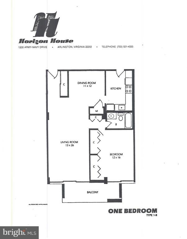 Floor plan-Kitchen has been expanded - 1300 ARMY NAVY DR #907, ARLINGTON