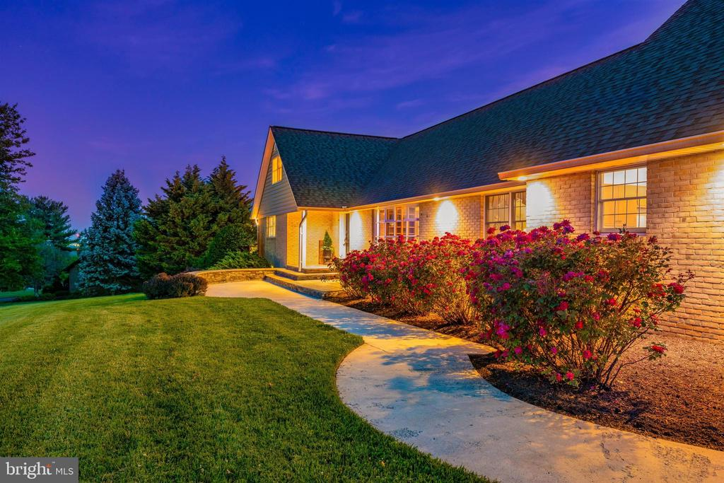 FRONT WALKWAY  W/ ARCHITECTURAL LIGHTING & ROSES - 6914 SUMMERSWOOD DR, FREDERICK