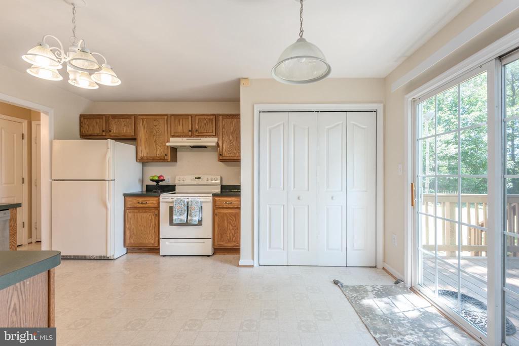 Kitchen Opens to Tree Filled Backyard - 3611 ALBERTA DR, FREDERICKSBURG