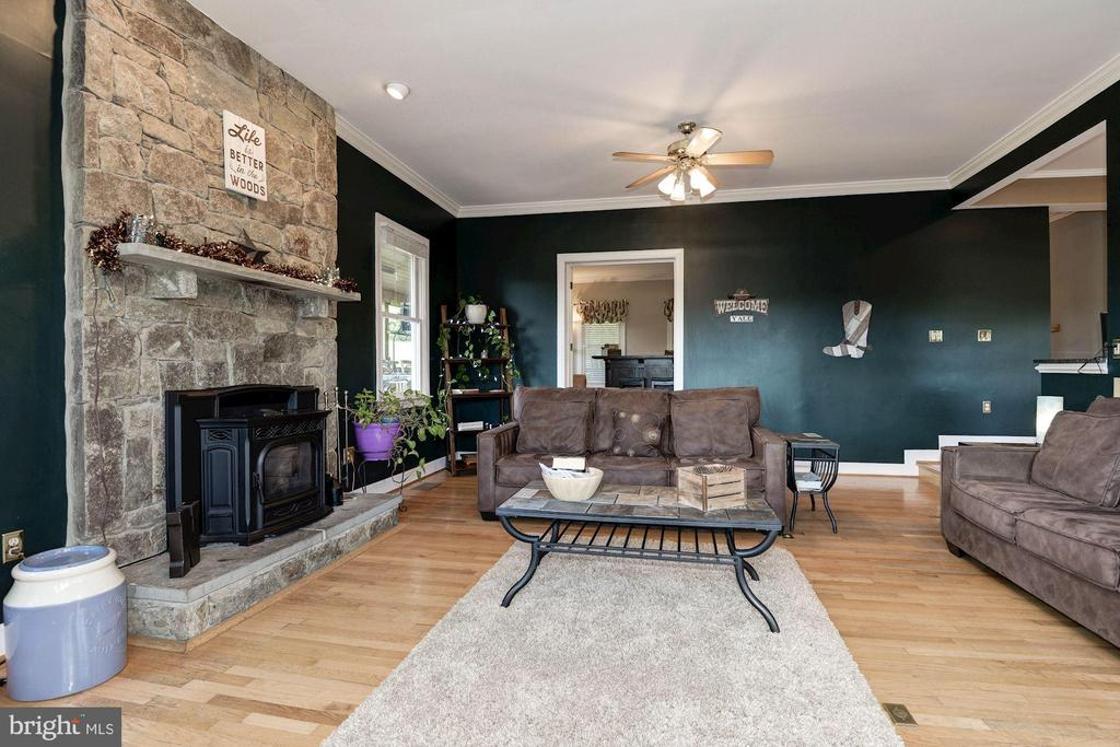 Family room with Pellet stove - 20634 ST LOUIS RD, PURCELLVILLE