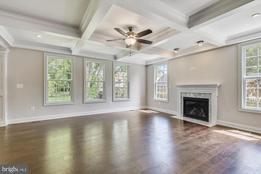Sunny great room w/coffered ceiling, gas fireplace - 2905 RANDOM RD, FALLS CHURCH