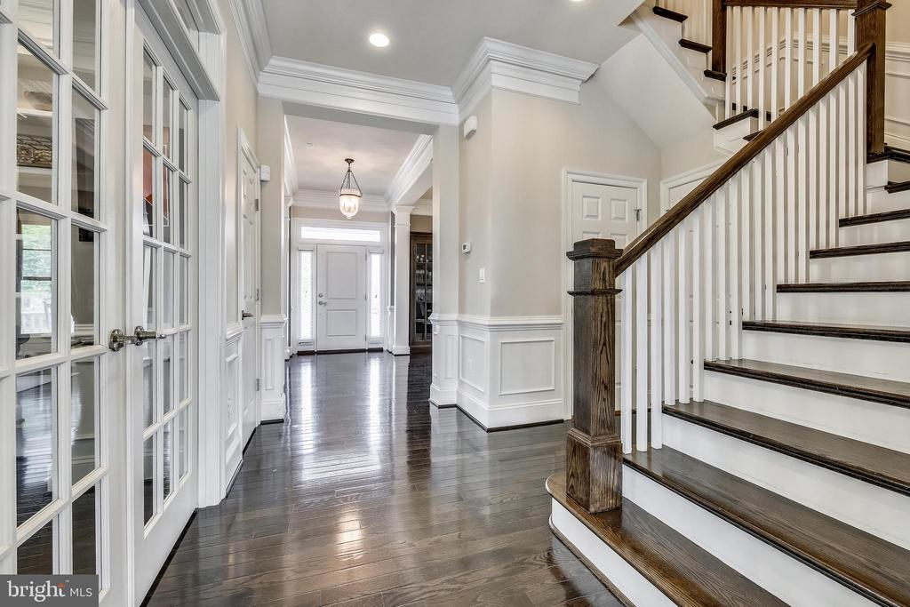 French doors to library  and wide stairway - 8 BULLARD CIR, ROCKVILLE
