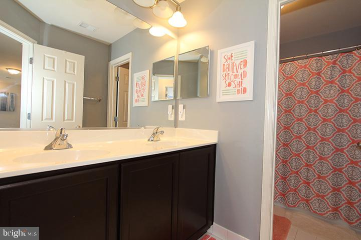 Upper level hall bathroom with dual sinks - 17352 TEDLER CIR, ROUND HILL