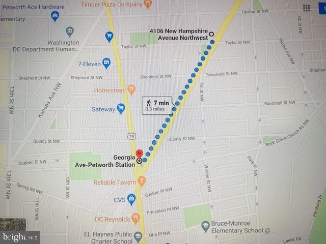 Distance to Petworth Metro station - 4106 NEW HAMPSHIRE AVE NW, WASHINGTON