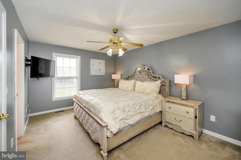 Master bedroom with ceiling  fan - 10109 HERIOT ROW CT, FREDERICKSBURG