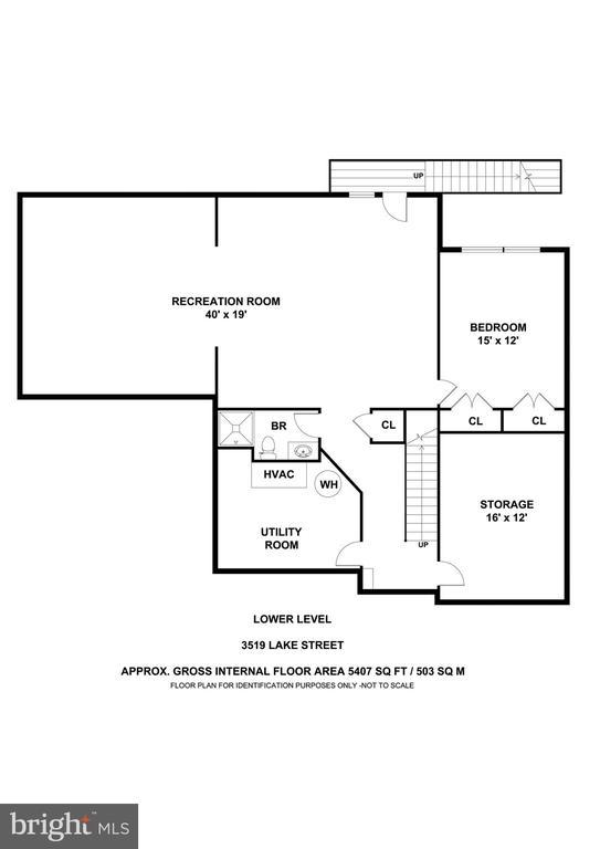 Lower Level Floor Plan - 3519 LAKE ST, FALLS CHURCH