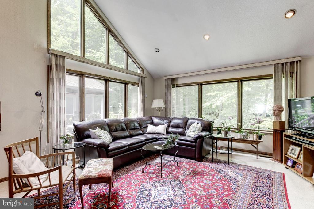 Family Room with large windows overlooking Deck - 17007 BARN RIDGE DR, SILVER SPRING