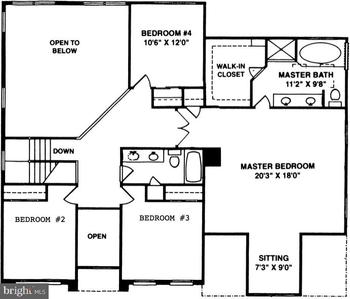 Upstairs bedrooms & bathrooms plan - 46929 SENECA RIDGE DR, STERLING