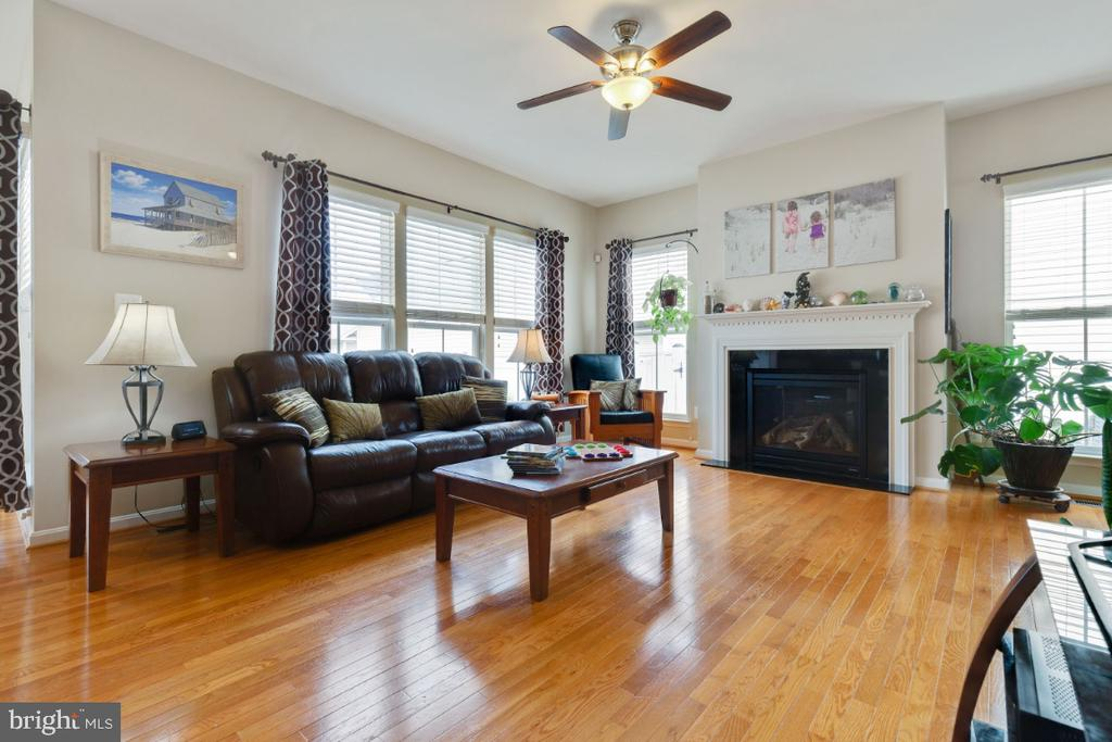 Family Room with Gas Fireplace & Mantle - 23402 HIGBEE LN, BRAMBLETON