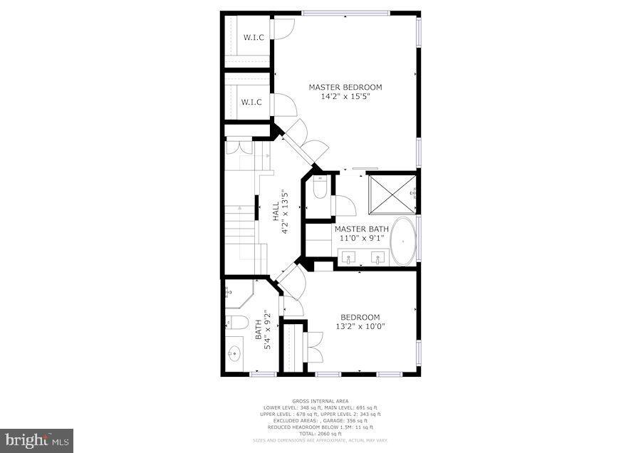 Third floor plan of master suite and extra bedroom - 1330 N ADAMS CT, ARLINGTON