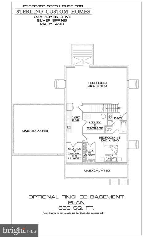 OPTIONAL BASEMENT FLOOR PLAN - 15 BELMONT CT, SILVER SPRING