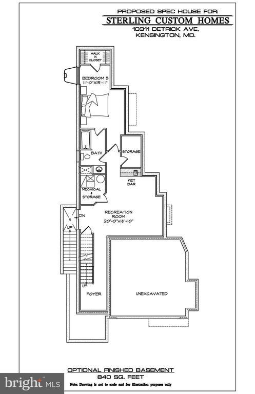 OPTIONAL BASEMENT FLOOR PLAN - 10307 DETRICK AVE, KENSINGTON