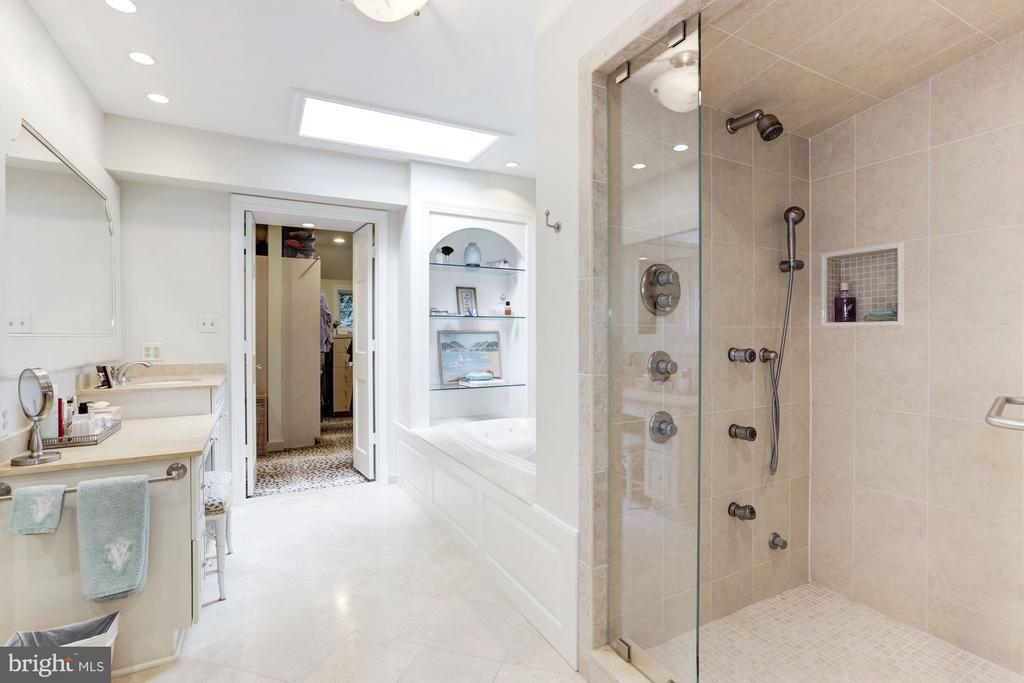 Limestone Master Bath with Steam Shower - 5212 UPTON TER NW, WASHINGTON
