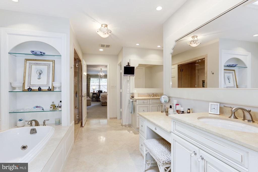 Renovated Master Bath with Dual Vanities - 5212 UPTON TER NW, WASHINGTON