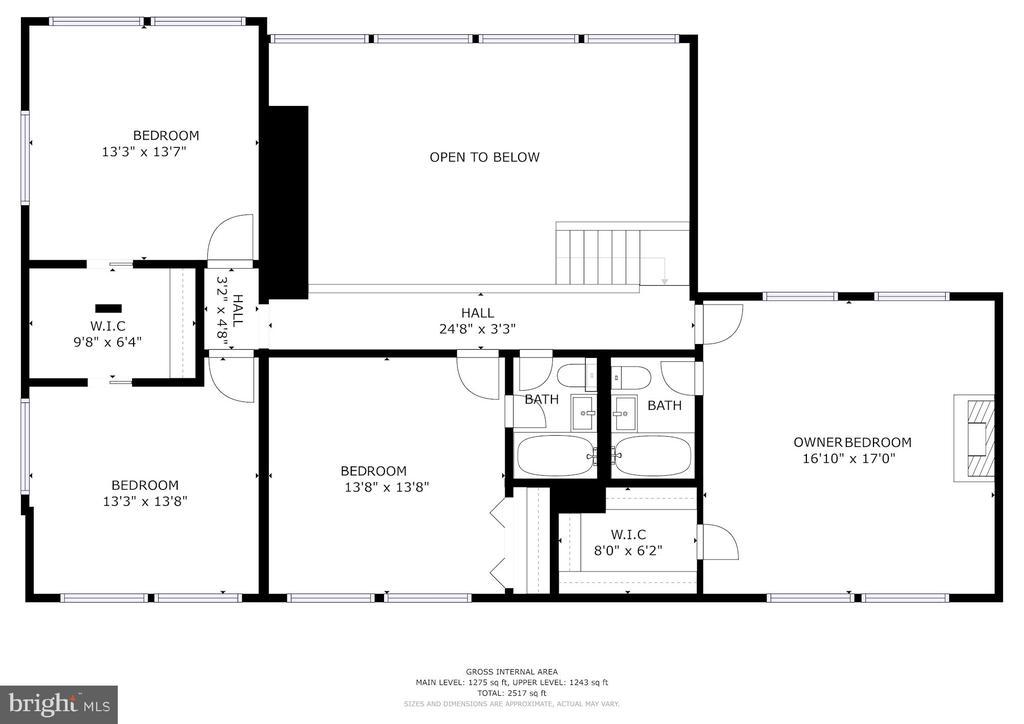 Upper Level Floor Plan - 3421 STONEYBRAE DR, FALLS CHURCH