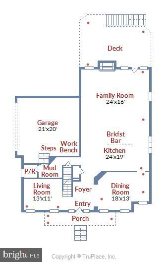 Floorplan with dimensions of main level - 22602 PINKHORN WAY, ASHBURN