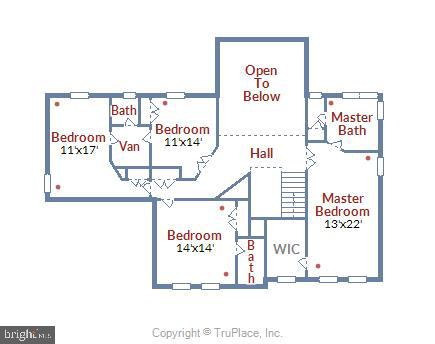 Upper level floor plan - 20810 AMBERVIEW CT, ASHBURN