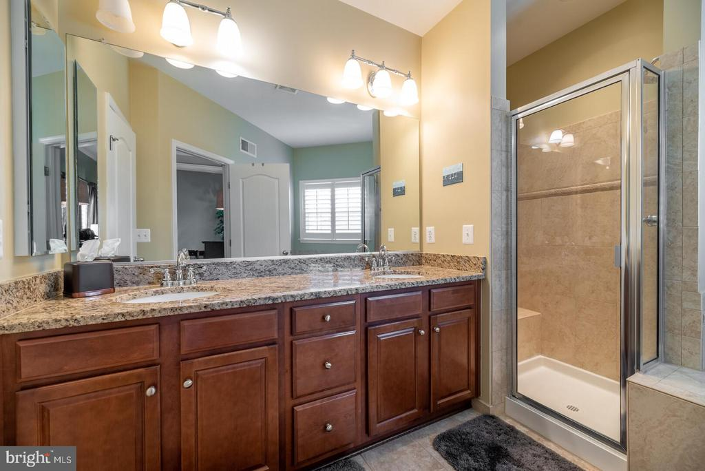 Master bathroom with upgrade cherry cabinets. - 19441 COPPERMINE SQ, LEESBURG
