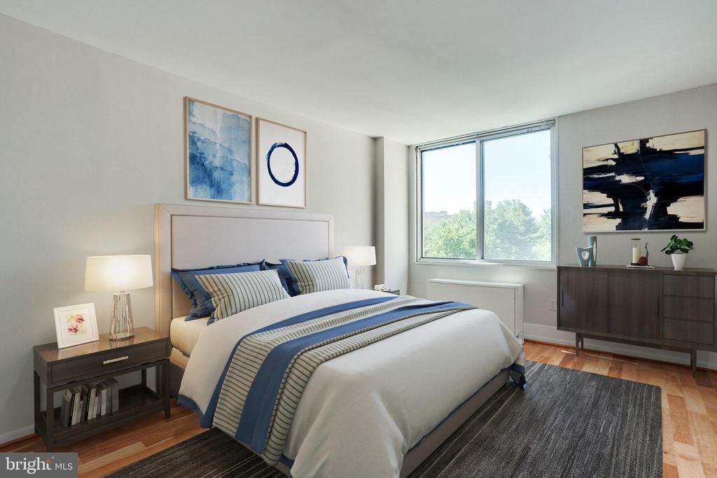 Spacious Bedroom (virtually staged) - 2939 VAN NESS ST NW #1017, WASHINGTON
