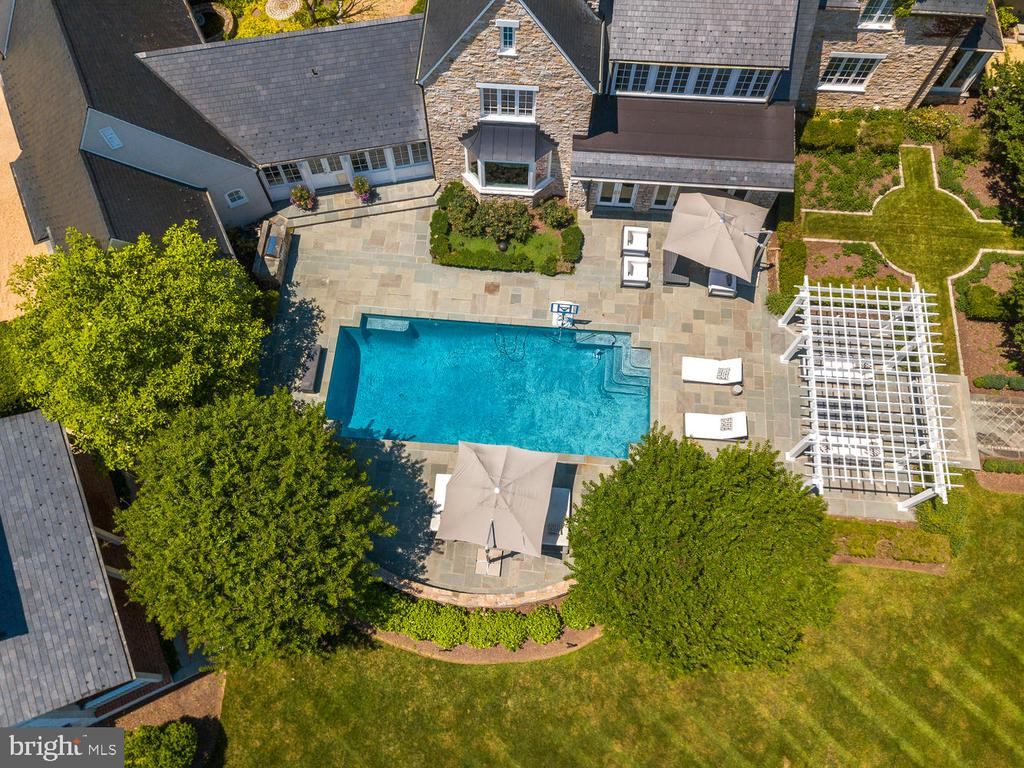 Elevated View of Pool - 10700 RED BARN LN, POTOMAC