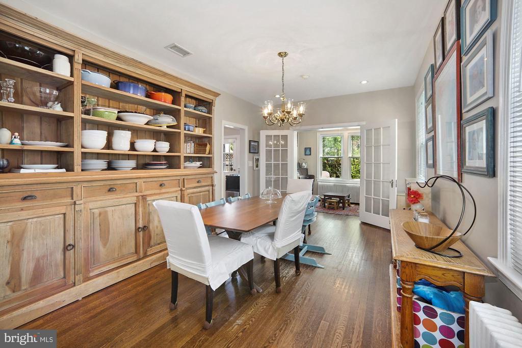 Large dining room, french doors to sunroom - 520 ONEIDA PL NW, WASHINGTON