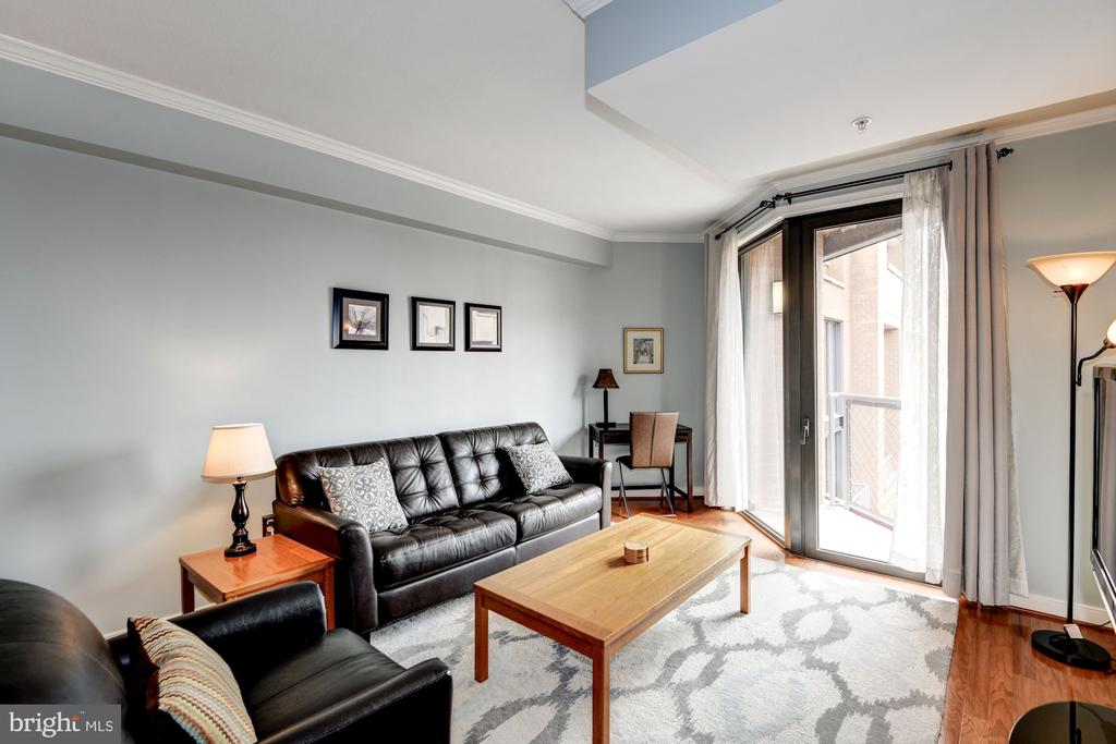 Living Area w/ One of Two Balconies - 616 E ST NW #1201, WASHINGTON