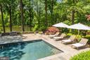 Pool with ample flagstone decking - 10 STANMORE CT, POTOMAC