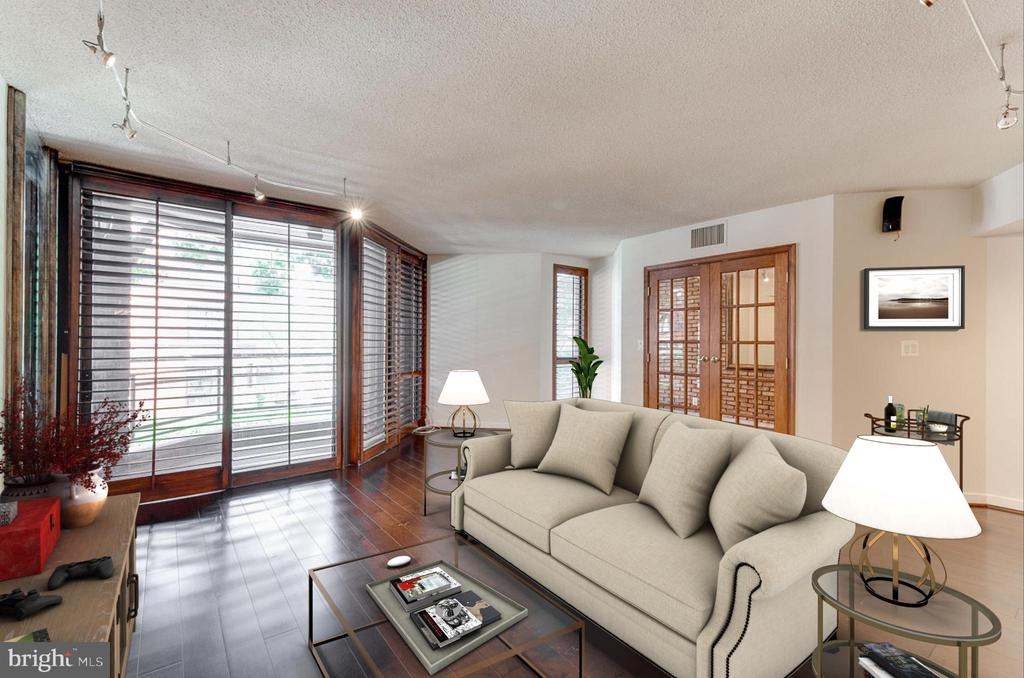 Living Room virtually staged - 1099 22ND ST NW #304, WASHINGTON