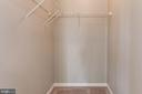 Walk in closet in master bedroom - 631 CONSTELLATION SQ SE #A, LEESBURG