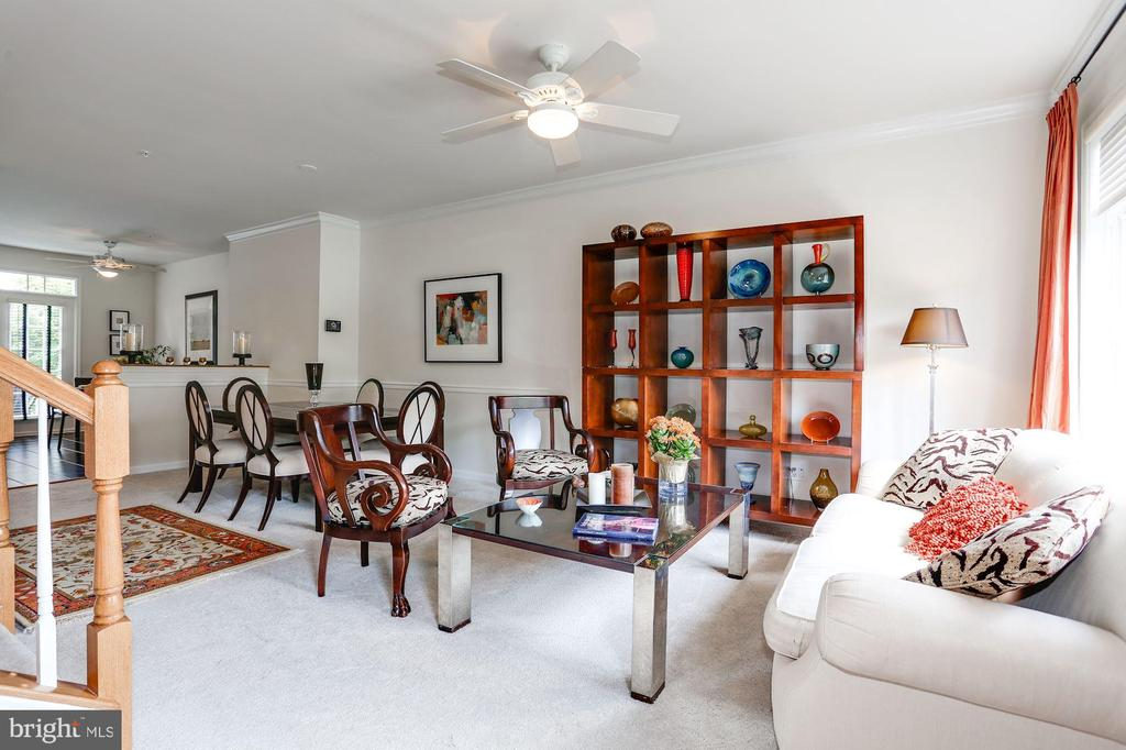 Living Room with Ceiling Fan - 12197 CHANCERY STATION CIR, RESTON