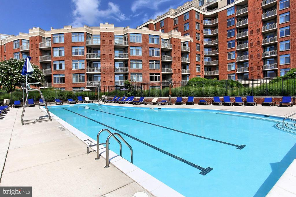 Outdoor Pool with spacious deck and lounges - 3650 S GLEBE RD #238, ARLINGTON