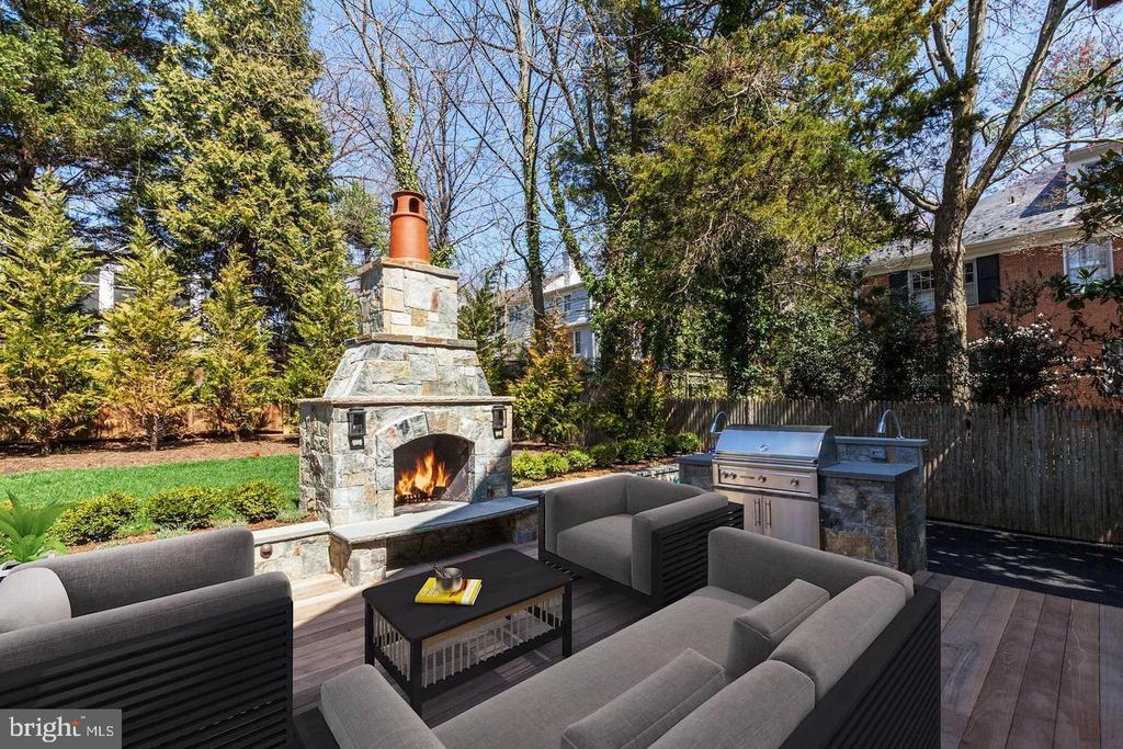 Outside fireplace - 5205 LAWN WAY, CHEVY CHASE