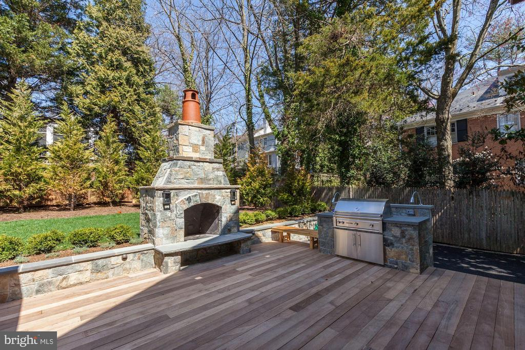 Outside fireplace and grill - 5205 LAWN WAY, CHEVY CHASE