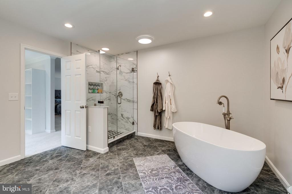 Frameless shower with shampoo niches - 11112 HAMPTON RD, FAIRFAX STATION