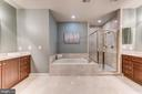 Master bath has dual vanities and soaking tub - 18382 FAIRWAY OAKS SQ, LEESBURG