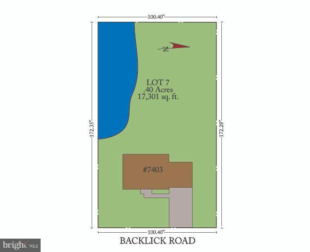 Plat/Survey showing lake and property lines - 7304 BACKLICK RD, SPRINGFIELD