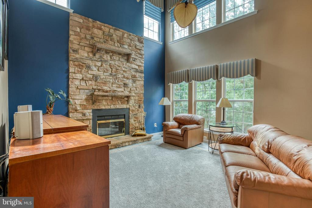Wood burning stone fireplace - 43435 MINK MEADOWS ST, CHANTILLY