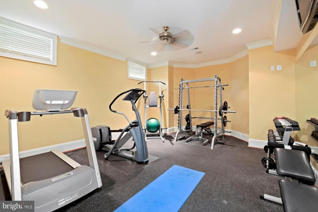lower level exercise room with mirrored wall - 11215 KINSALE CT, ELLICOTT CITY