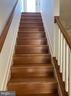Hardwood stairs to master suite and sky terrace - 1429 TRAFALGAR LN, FREDERICK