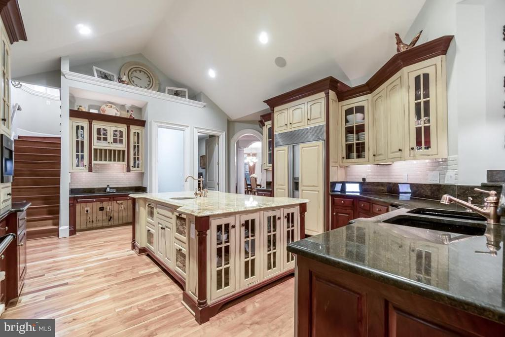 Kitchen with handmade cabinets & carpentry - 15330 RIDING CLUB DR, HAYMARKET