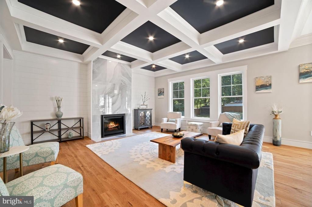 Large Gas Fireplace and shipLap anchors FR - 5631 SOUTHAMPTON DR, SPRINGFIELD