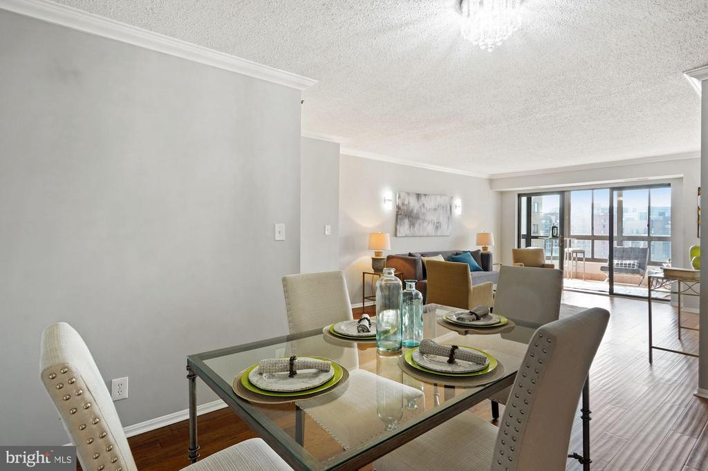 Dining area over looking the living space - 1600 N OAK ST #1716, ARLINGTON