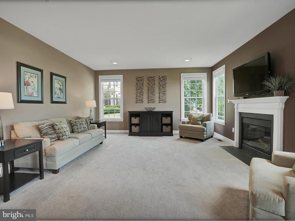 Spacious family room with fireplace. - 9509 TOTTENHAM CIR, FREDERICK