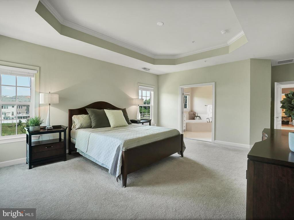 Spacious master bedroom with tray ceiling! - 9509 TOTTENHAM CIR, FREDERICK